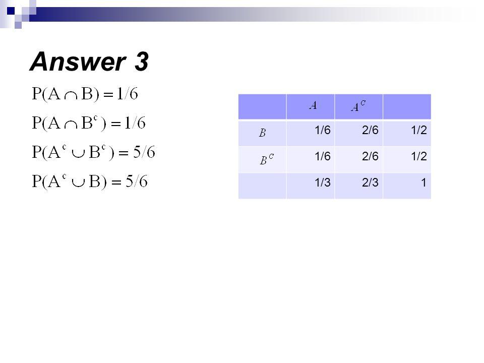Answer 3 1/22/61/6 1/22/61/6 12/31/3