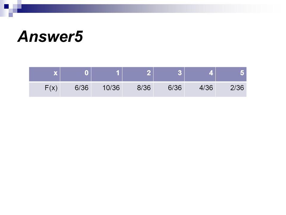 Answer5 543210x 2/364/366/368/3610/366/36F(x)
