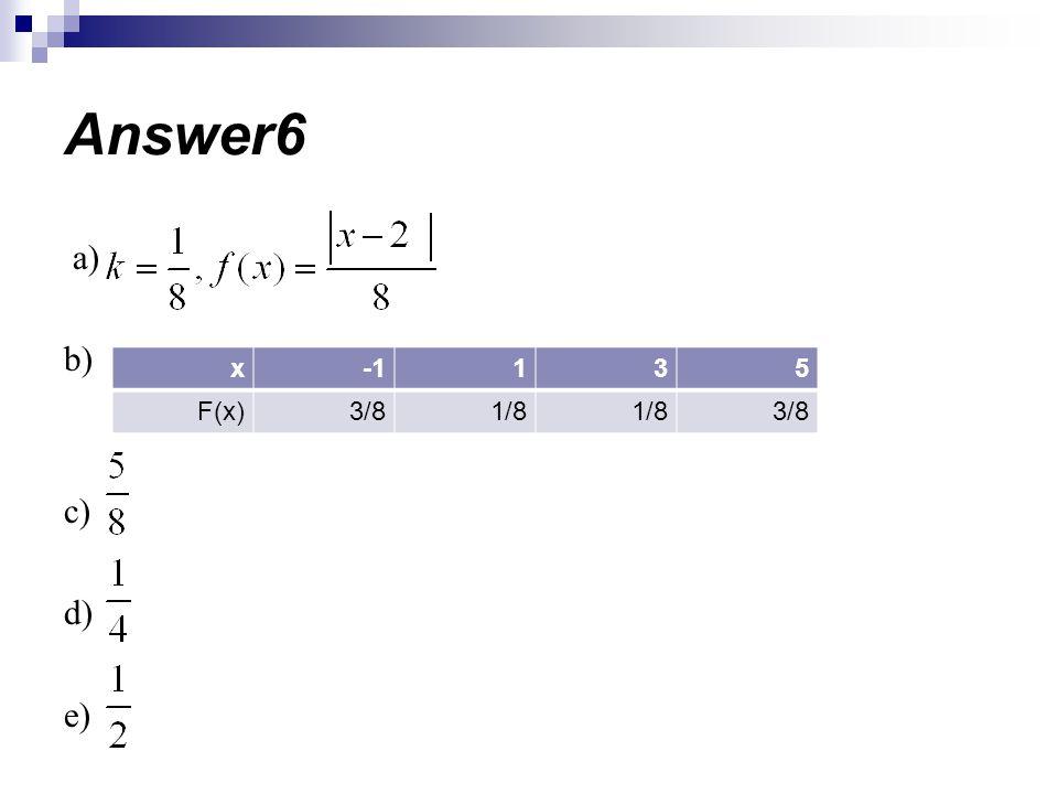 a) b) c) d) e) Answer6 531x 3/81/8 3/8F(x)