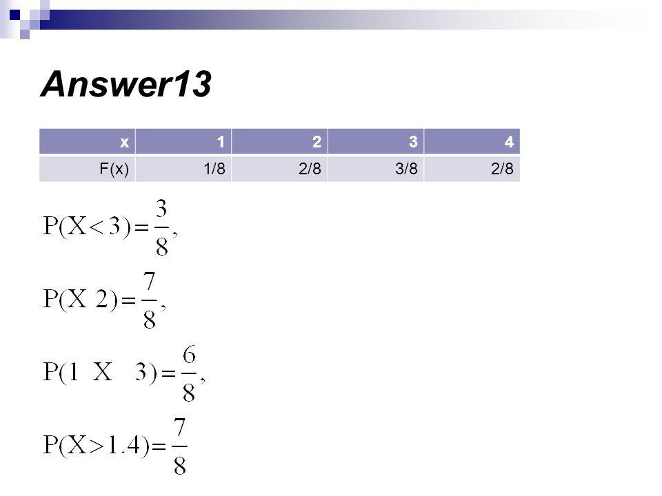 Answer13 4321x 2/83/82/81/8F(x)