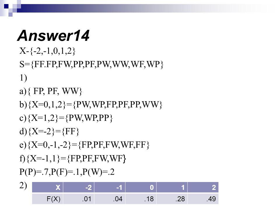 X-{-2,-1,0,1,2} S={FF.FP,FW,PP,PF,PW,WW,WF,WP} 1) a){ FP, PF, WW} b){X=0,1,2}={PW,WP,FP,PF,PP,WW} c){X=1,2}={PW,WP,PP} d){X=-2}={FF} e){X=0,-1,-2}={FP