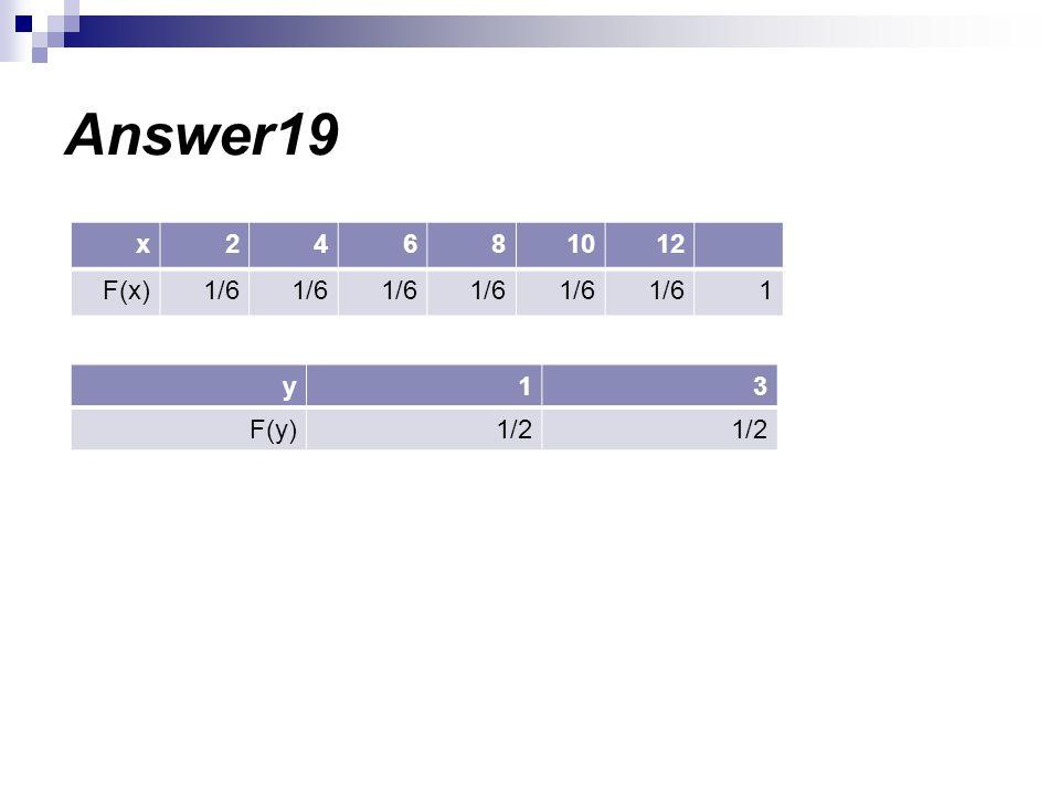 Answer19 12108642x 11/6 F(x) 31y 1/2 F(y)