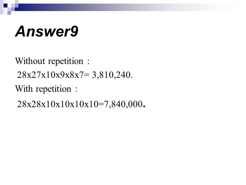 Without repetition : 28x27x10x9x8x7= 3,810,240. With repetition : 28x28x10x10x10x10=7,840,000. Answer9