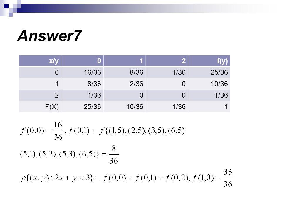 Answer7 f(y)210x/y 25/361/368/3616/360 10/3602/368/361 1/3600 2 1 10/3625/36F(X)