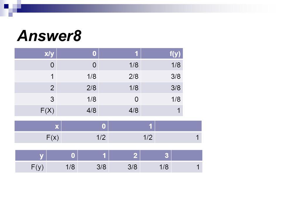 Answer8 f(y)10x/y 1/8 00 3/82/81/81 3/81/82/82 1/80 3 14/8 F(X) 10x 11/2 F(x) 3210y 11/83/8 1/8F(y)