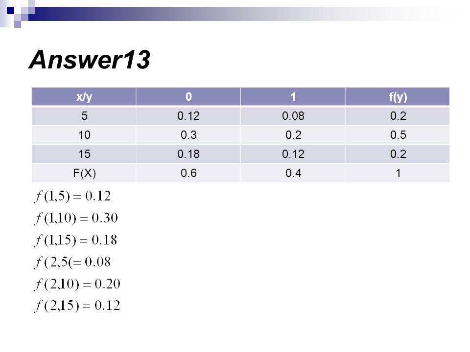 Answer13 f(y)10x/y 0.20.080.125 0.50.20.310 0.20.120.1815 10.40.6F(X)