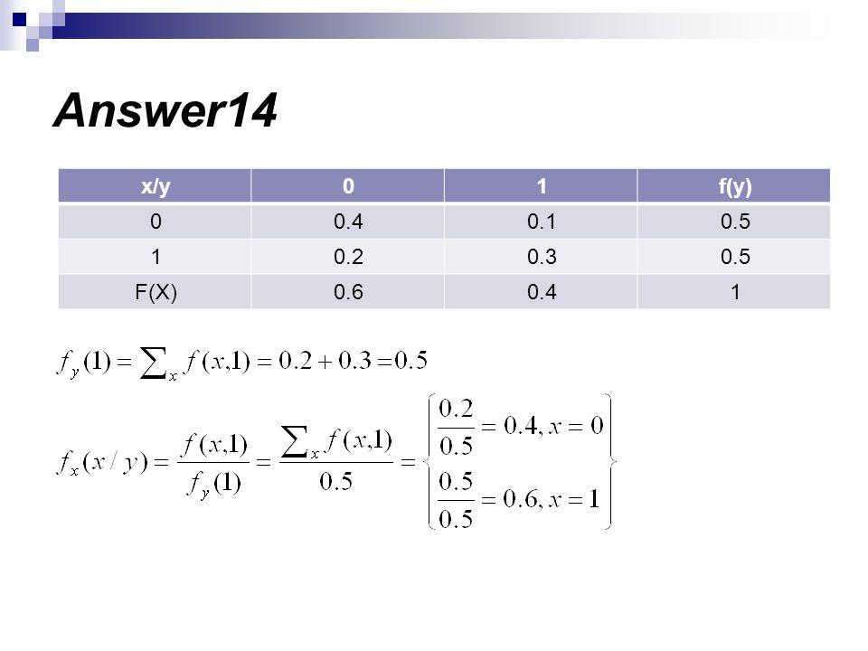 Answer14 f(y)10x/y 0.50.10.40 0.50.30.21 10.40.6F(X)