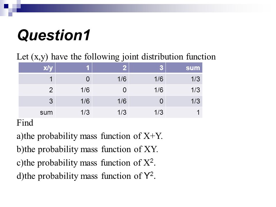 Let (x,y) have the following joint distribution function Find a)the probability mass function of X+Y.