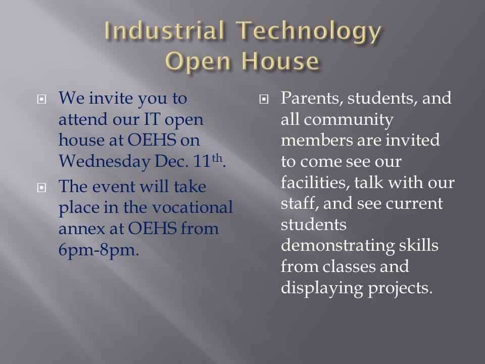 Our industrial technology staff at OEHS are highly skilled teachers that specialize in their content area.