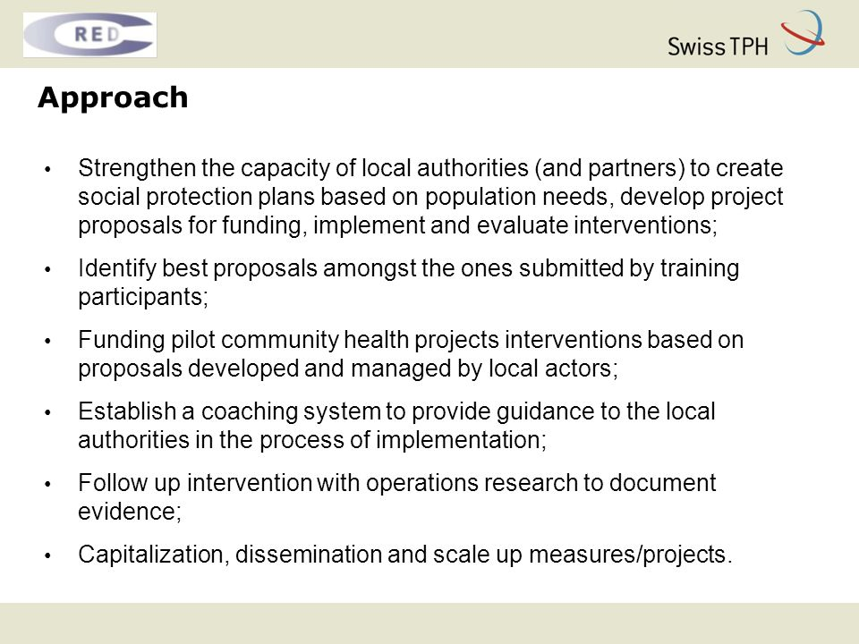Expected outcomes Disadvantaged groups have better access to and make equal use of health services at community level; Models for integrated health and social services for disadvantaged groups are available and are utilized at local levels; Local authorities are empowered to conceptualize, set up and manage intersectoral health related projects and are actively acquiring funding for interventions; Government authorities dispose of a set of evidence based local health interventions to improve local health indicators.