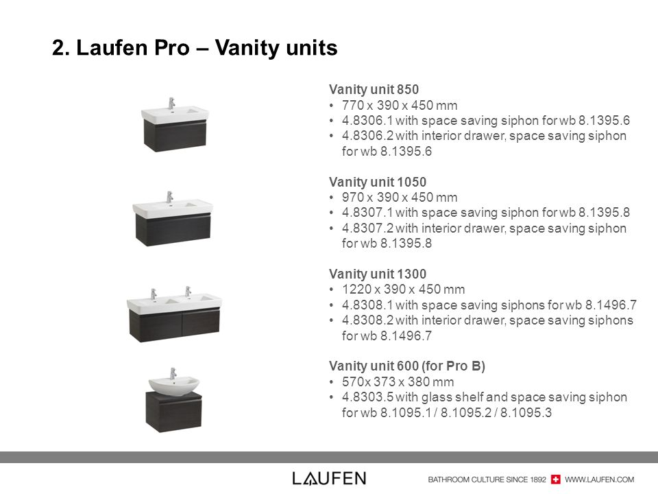 2. Laufen Pro – Vanity units Vanity unit 850 770 x 390 x 450 mm 4.8306.1 with space saving siphon for wb 8.1395.6 4.8306.2 with interior drawer, space