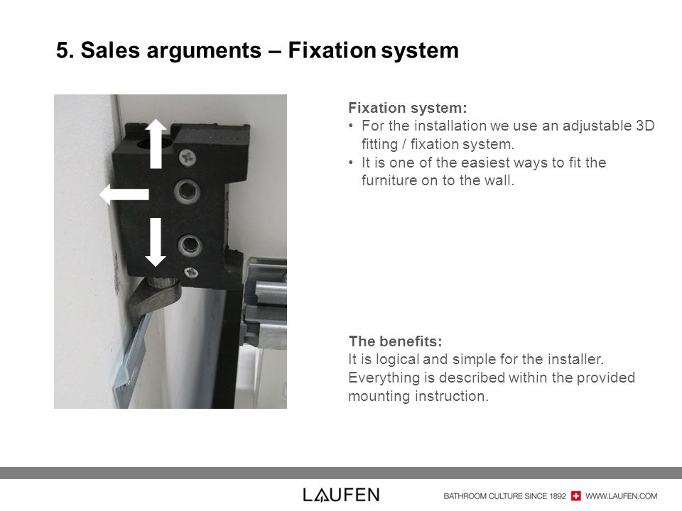 5. Sales arguments – Fixation system Fixation system: For the installation we use an adjustable 3D fitting / fixation system. It is one of the easiest