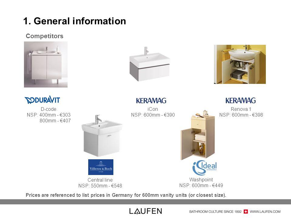 1. General information D-code NSP: 400mm - 303 800mm - 407 iCon NSP: 600mm - 390 Renova 1 NSP: 600mm - 398 Central line NSP: 550mm - 548 Washpoint NSP