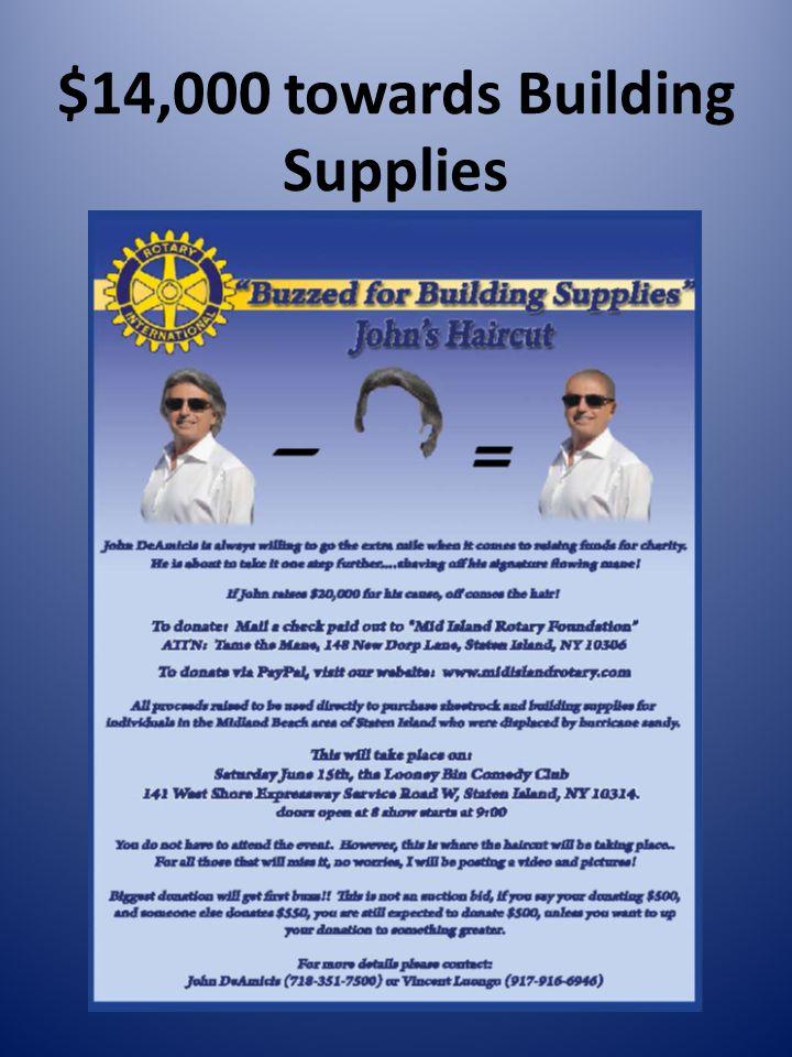 $14,000 towards Building Supplies
