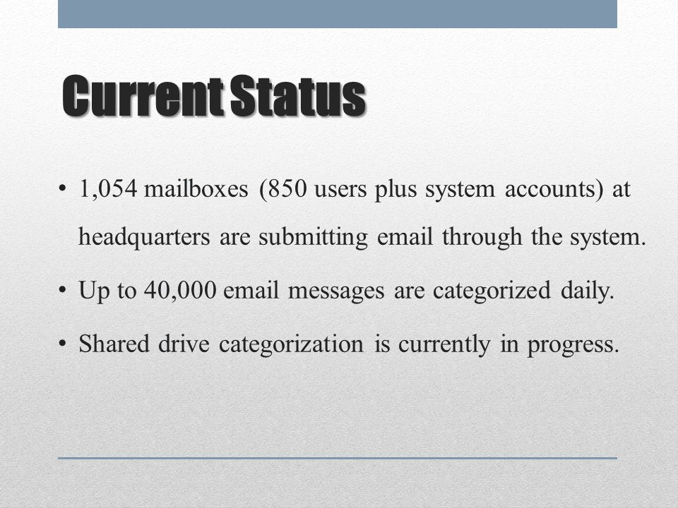 CurrentStatus Current Status 1,054 mailboxes (850 users plus system accounts) at headquarters are submitting email through the system.