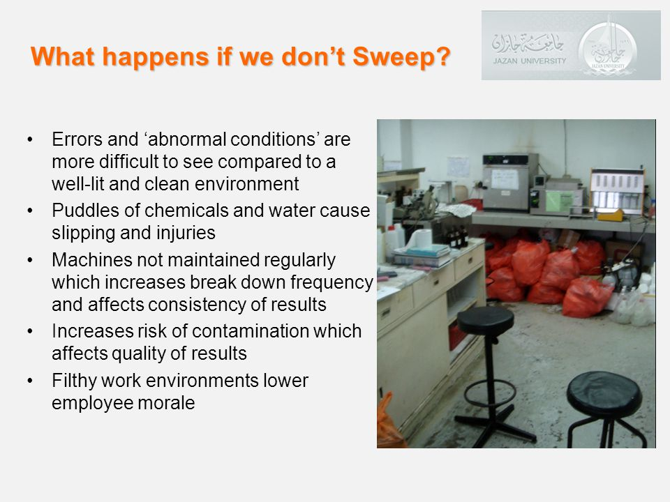 Errors and abnormal conditions are more difficult to see compared to a well-lit and clean environment Puddles of chemicals and water cause slipping and injuries Machines not maintained regularly which increases break down frequency and affects consistency of results Increases risk of contamination which affects quality of results Filthy work environments lower employee morale What happens if we dont Sweep?