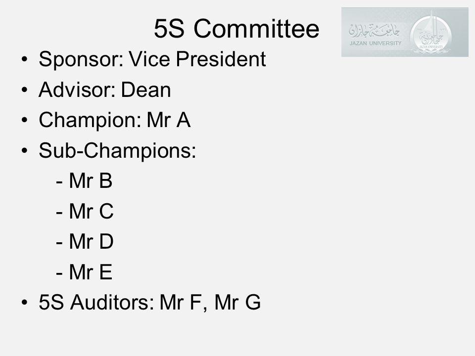 5S Committee Sponsor: Vice President Advisor: Dean Champion: Mr A Sub-Champions: - Mr B - Mr C - Mr D - Mr E 5S Auditors: Mr F, Mr G 34
