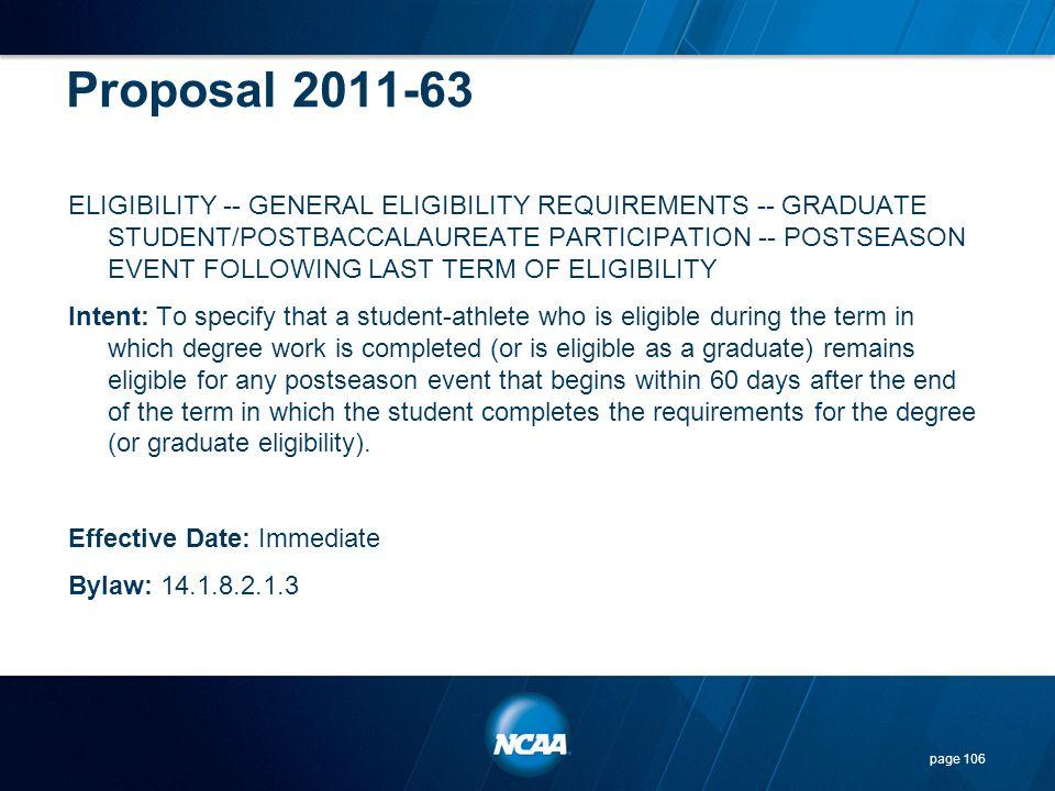 Proposal 2011-63 ELIGIBILITY -- GENERAL ELIGIBILITY REQUIREMENTS -- GRADUATE STUDENT/POSTBACCALAUREATE PARTICIPATION -- POSTSEASON EVENT FOLLOWING LAS