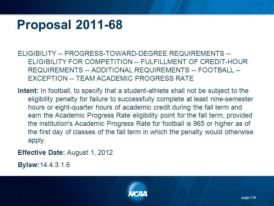 Proposal 2011-68 ELIGIBILITY -- PROGRESS-TOWARD-DEGREE REQUIREMENTS -- ELIGIBILITY FOR COMPETITION -- FULFILLMENT OF CREDIT-HOUR REQUIREMENTS -- ADDIT