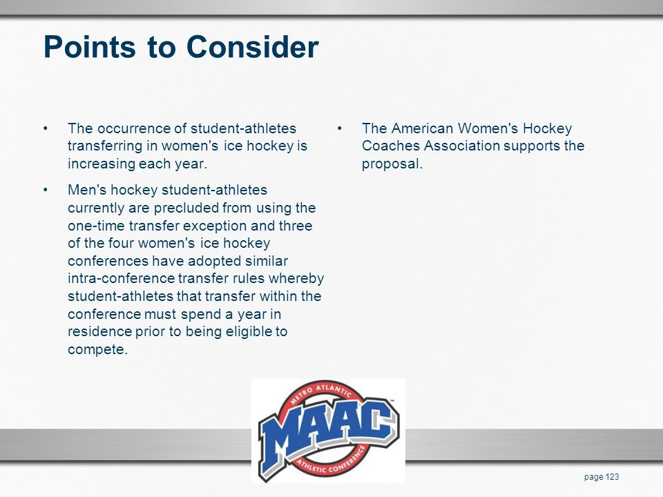 Points to Consider The occurrence of student-athletes transferring in women's ice hockey is increasing each year. Men's hockey student-athletes curren