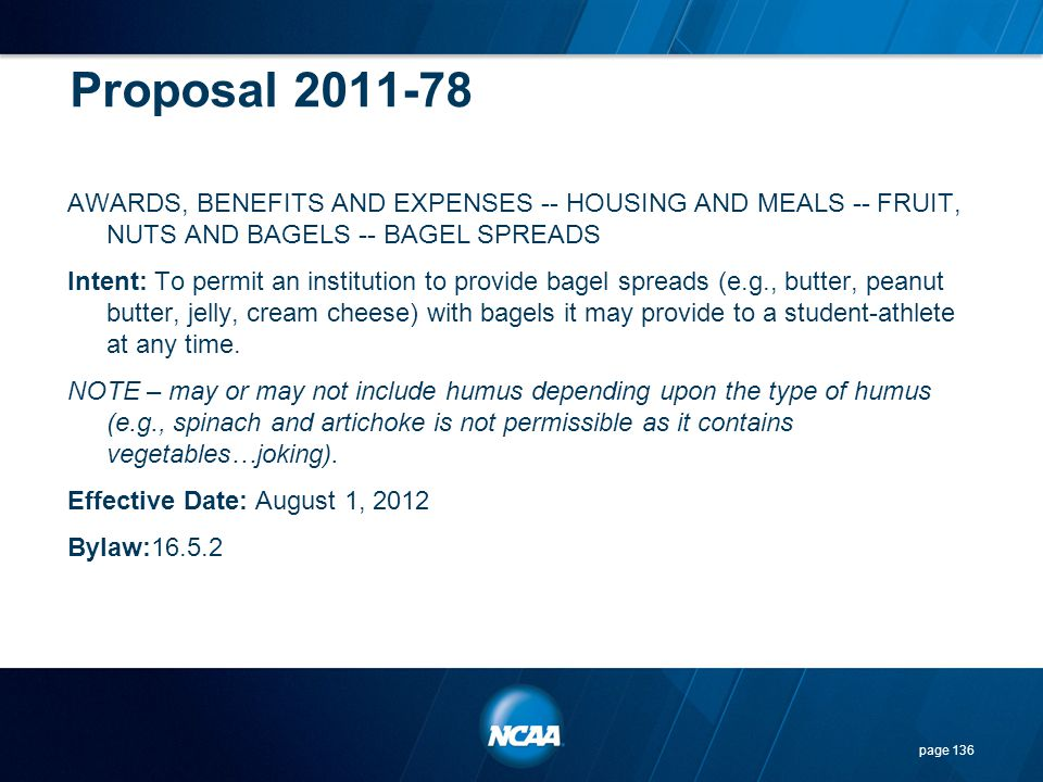 Proposal 2011-78 AWARDS, BENEFITS AND EXPENSES -- HOUSING AND MEALS -- FRUIT, NUTS AND BAGELS -- BAGEL SPREADS Intent: To permit an institution to pro