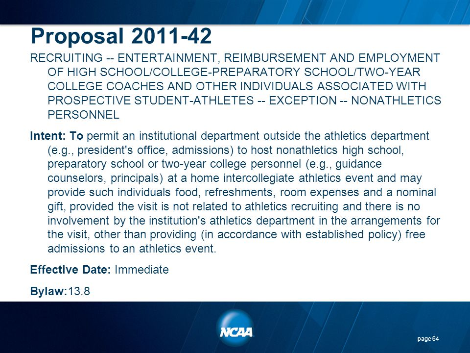 Proposal 2011-42 RECRUITING -- ENTERTAINMENT, REIMBURSEMENT AND EMPLOYMENT OF HIGH SCHOOL/COLLEGE-PREPARATORY SCHOOL/TWO-YEAR COLLEGE COACHES AND OTHE