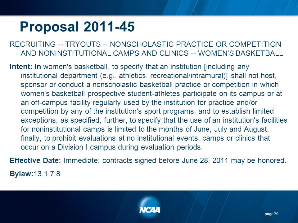 Proposal 2011-45 RECRUITING -- TRYOUTS -- NONSCHOLASTIC PRACTICE OR COMPETITION AND NONINSTITUTIONAL CAMPS AND CLINICS -- WOMEN'S BASKETBALL Intent: I