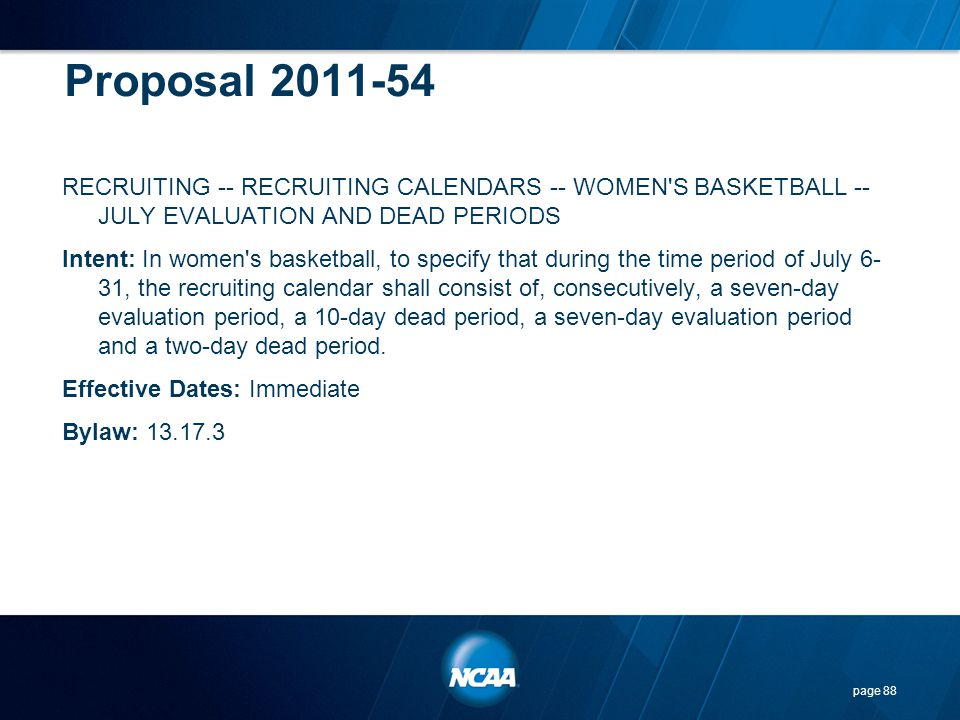 Proposal 2011-54 RECRUITING -- RECRUITING CALENDARS -- WOMEN'S BASKETBALL -- JULY EVALUATION AND DEAD PERIODS Intent: In women's basketball, to specif