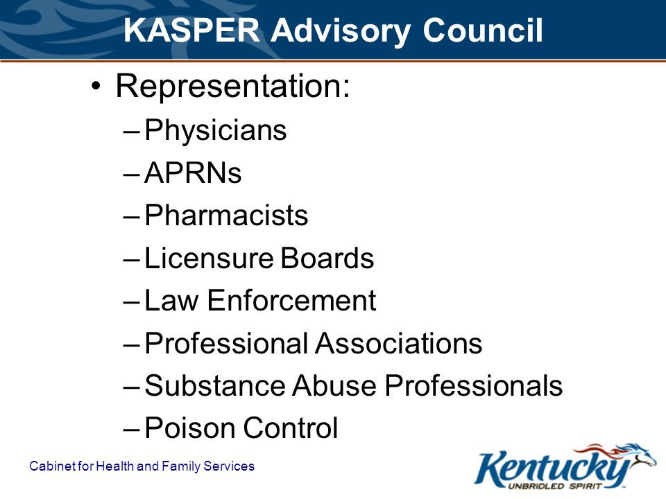 Cabinet for Health and Family Services KASPER Advisory Council Representation: –Physicians –APRNs –Pharmacists –Licensure Boards –Law Enforcement –Professional Associations –Substance Abuse Professionals –Poison Control