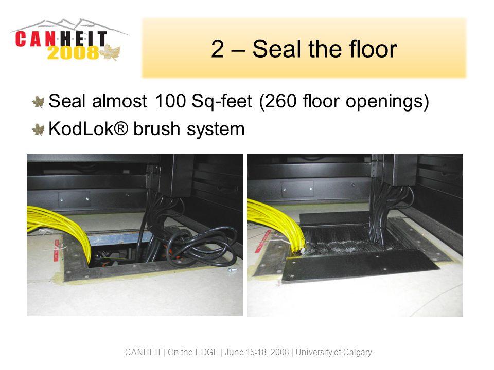 2 – Seal the floor Seal almost 100 Sq-feet (260 floor openings) KodLok® brush system CANHEIT | On the EDGE | June 15-18, 2008 | University of Calgary