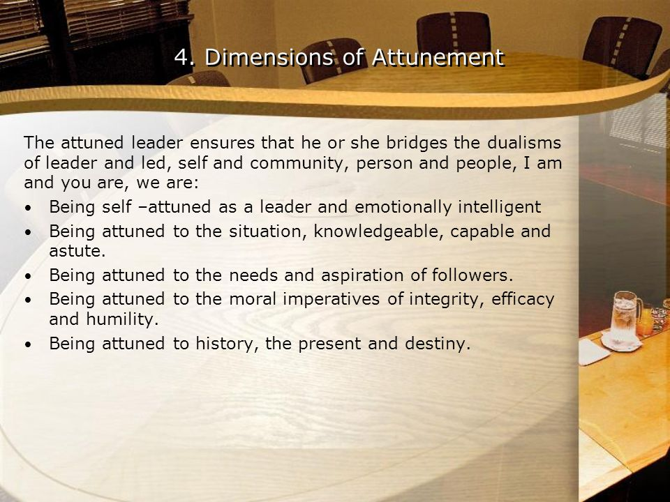 The attuned leader ensures that he or she bridges the dualisms of leader and led, self and community, person and people, I am and you are, we are: Bei