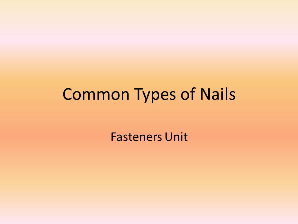 Common Types of Nails Fasteners Unit
