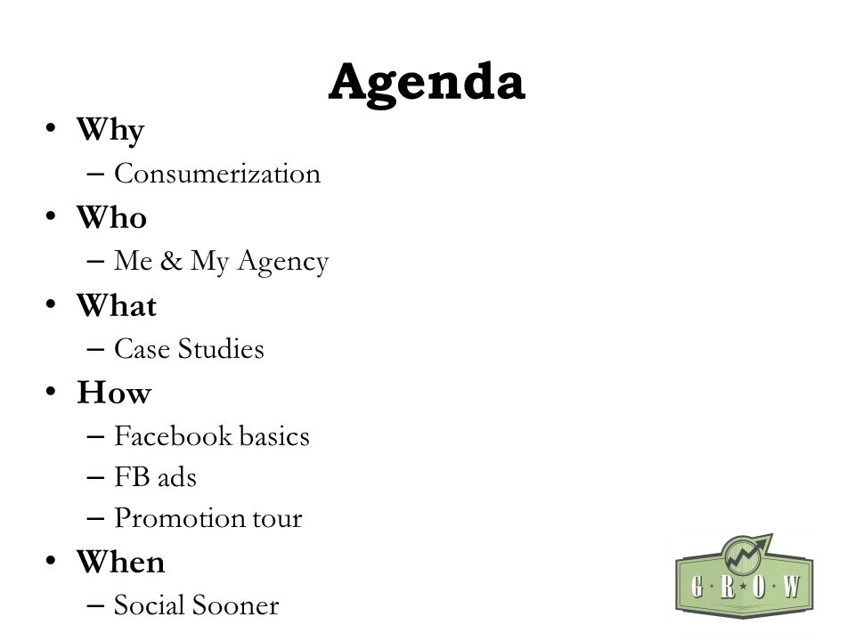 Agenda Why – Consumerization Who – Me & My Agency What – Case Studies How – Facebook basics – FB ads – Promotion tour When – Social Sooner