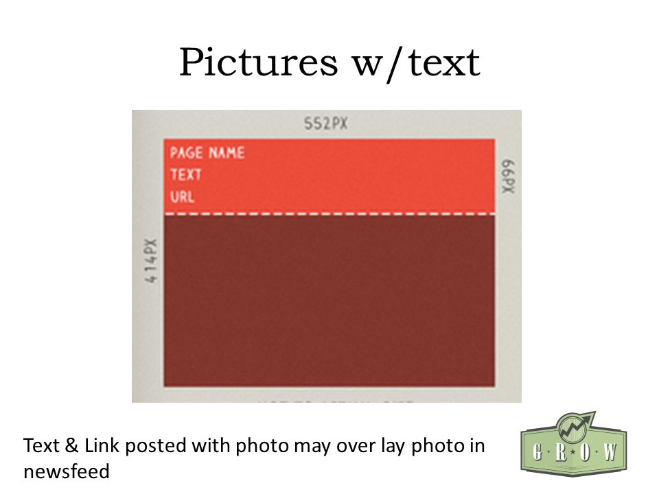 Pictures w/text Text & Link posted with photo may over lay photo in newsfeed