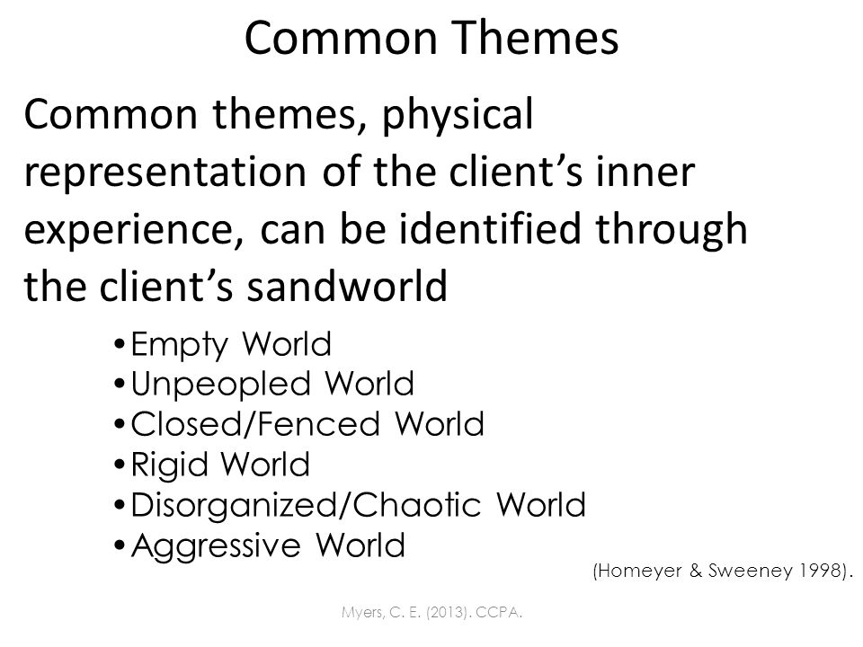 Common Themes Common themes, physical representation of the clients inner experience, can be identified through the clients sandworld Empty World Unpe