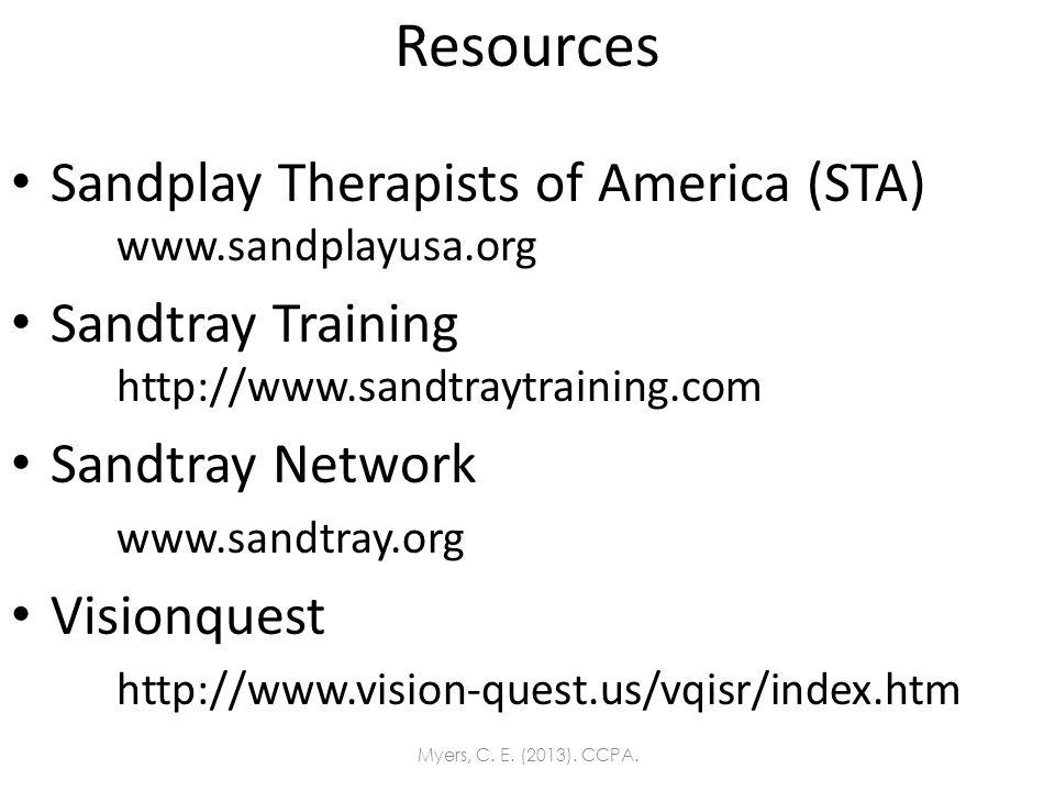 Resources Sandplay Therapists of America (STA) www.sandplayusa.org Sandtray Training http://www.sandtraytraining.com Sandtray Network www.sandtray.org