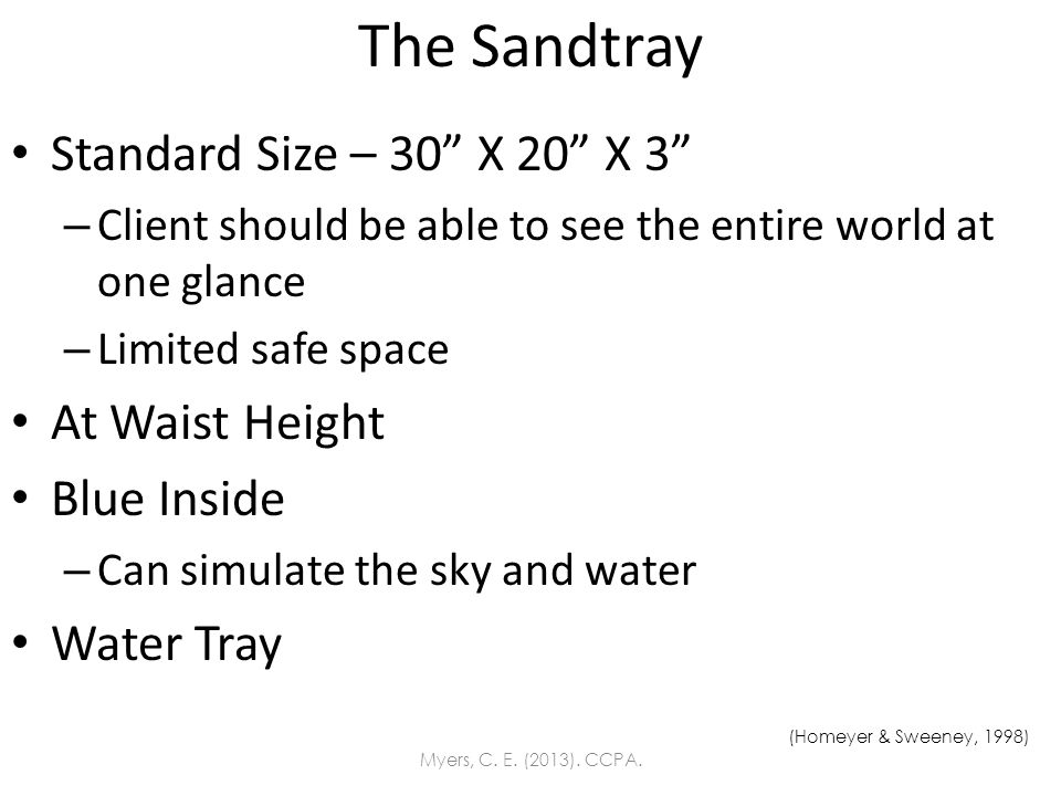 The Sandtray Standard Size – 30 X 20 X 3 – Client should be able to see the entire world at one glance – Limited safe space At Waist Height Blue Insid