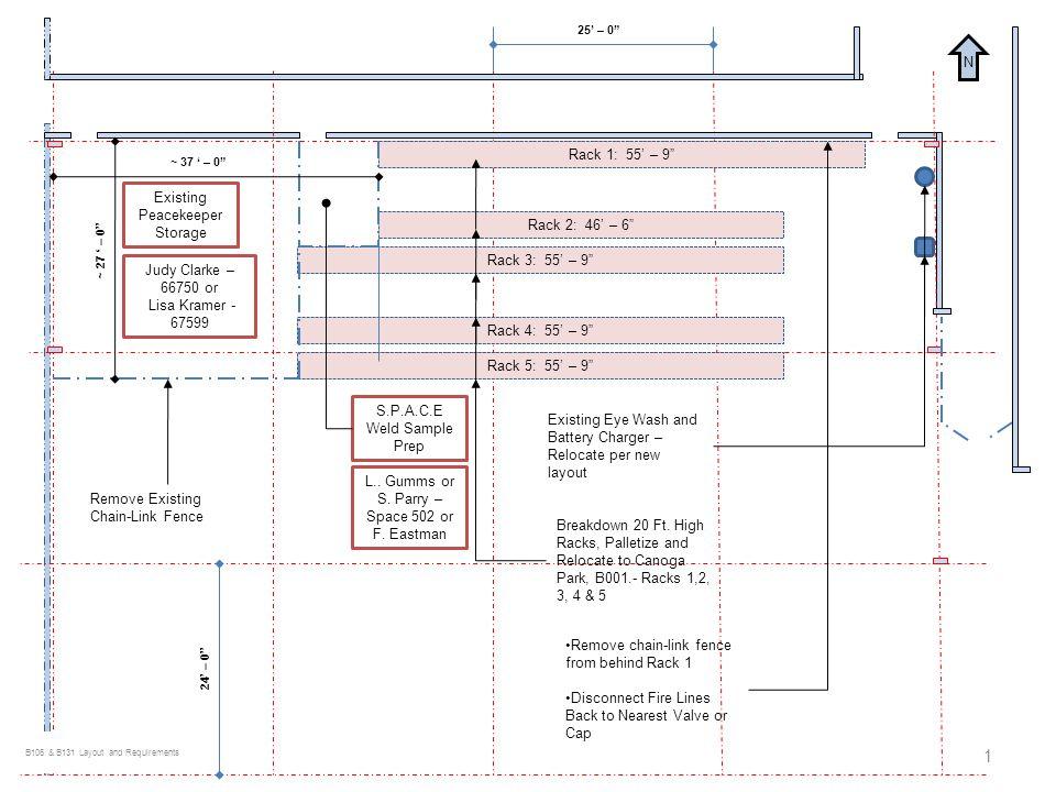 Rack 1: 55 – 9 Rack 2: 46 – 6 Rack 3: 55 – 9 Rack 4: 55 – 9 Rack 5: 55 – 9 Existing Peacekeeper Storage Judy Clarke – 66750 or Lisa Kramer - 67599 S.P.A.C.E Weld Sample Prep L..