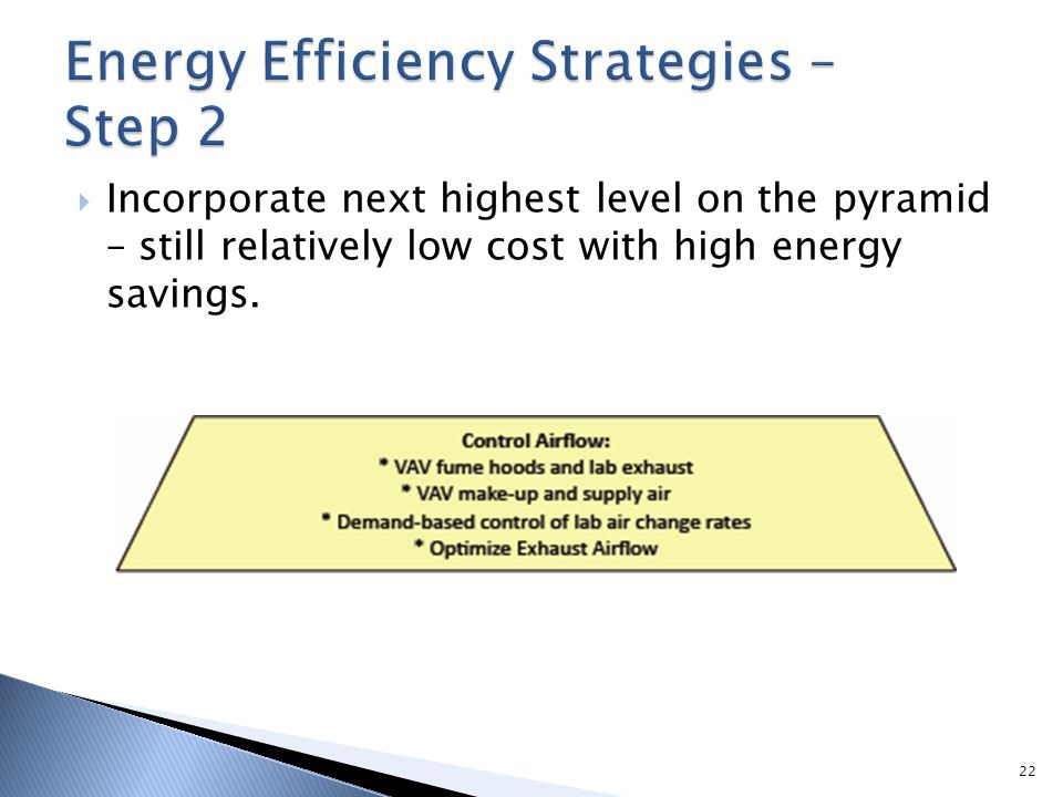 Incorporate next highest level on the pyramid – still relatively low cost with high energy savings. 22