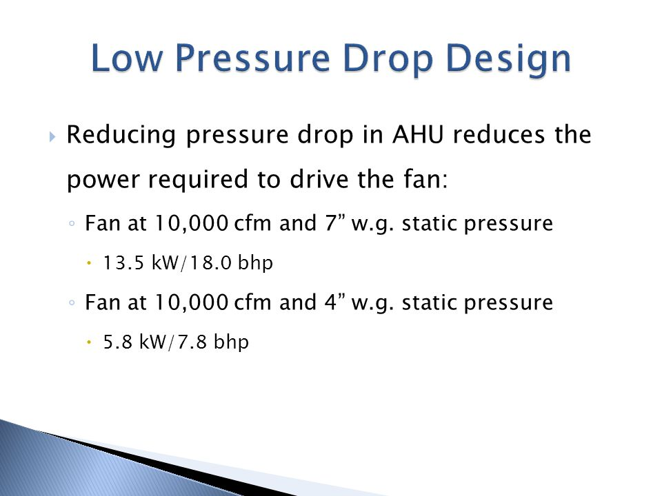 Reducing pressure drop in AHU reduces the power required to drive the fan: Fan at 10,000 cfm and 7 w.g. static pressure 13.5 kW/18.0 bhp Fan at 10,000
