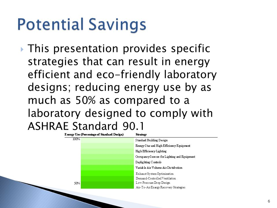 6 This presentation provides specific strategies that can result in energy efficient and eco-friendly laboratory designs; reducing energy use by as mu