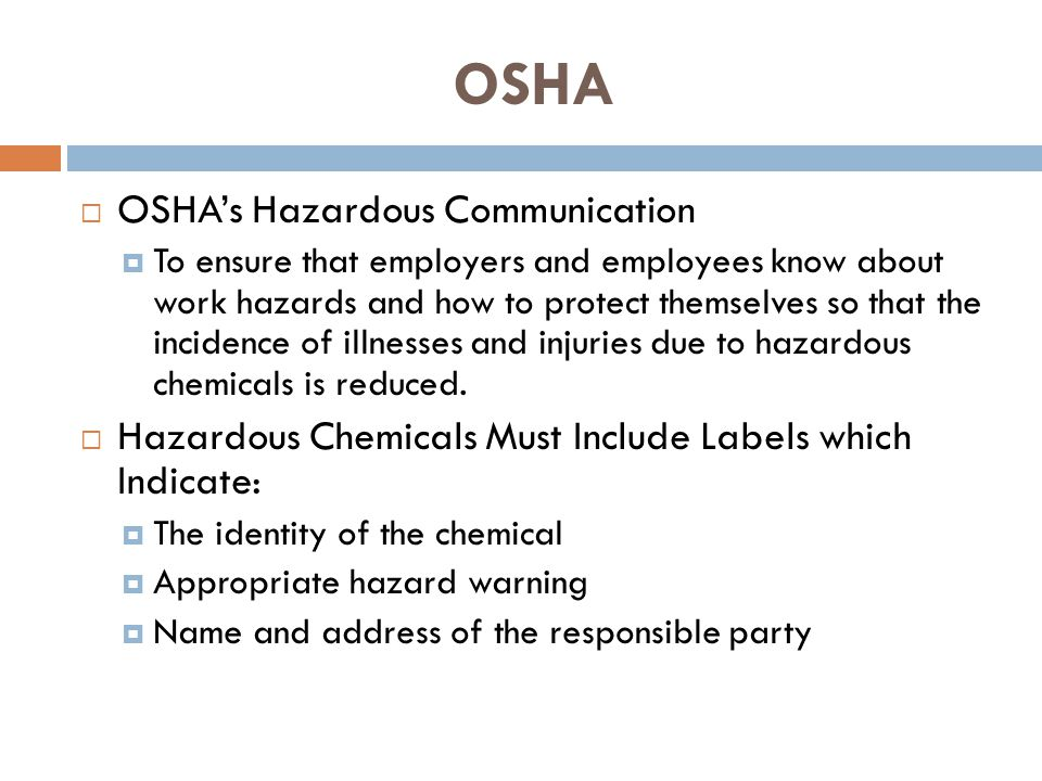 Material Safety Data Sheet (MSDS) MSDSs are prepared by the chemical manufacturer or importer and describe: Physical hazards, such as fire and explosion Health hazards, such as signs of exposure Routes of exposure Precautions for safe handling and use Emergency and first aid procedures Control measures MSDS are readily accessible to all employees