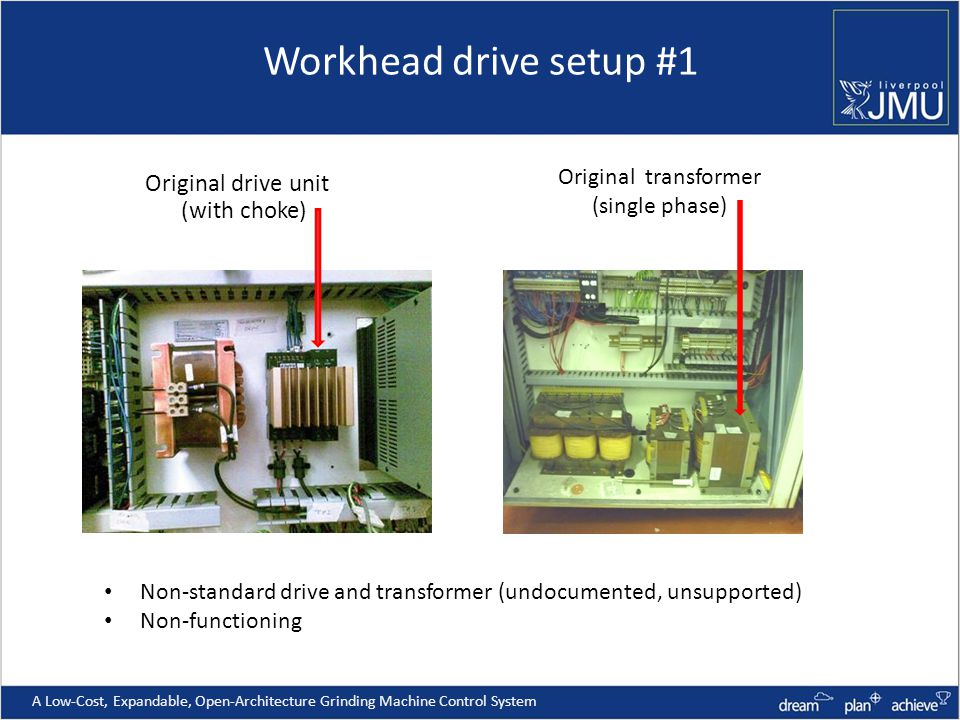 Workhead drive setup #1 A Low-Cost, Expandable, Open-Architecture Grinding Machine Control System Original drive unit (with choke) Original transformer (single phase) Non-standard drive and transformer (undocumented, unsupported) Non-functioning