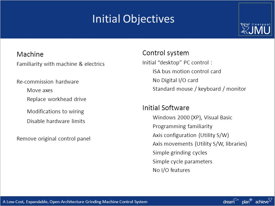 Initial Objectives Machine Familiarity with machine & electrics Re-commission hardware Move axes Replace workhead drive Modifications to wiring Disable hardware limits Remove original control panel Control system Initial desktop PC control : ISA bus motion control card No Digital I/O card Standard mouse / keyboard / monitor Initial Software Windows 2000 (XP), Visual Basic Programming familiarity Axis configuration (Utility S/W) Axis movements (Utility S/W, libraries) Simple grinding cycles Simple cycle parameters No I/O features A Low-Cost, Expandable, Open-Architecture Grinding Machine Control System
