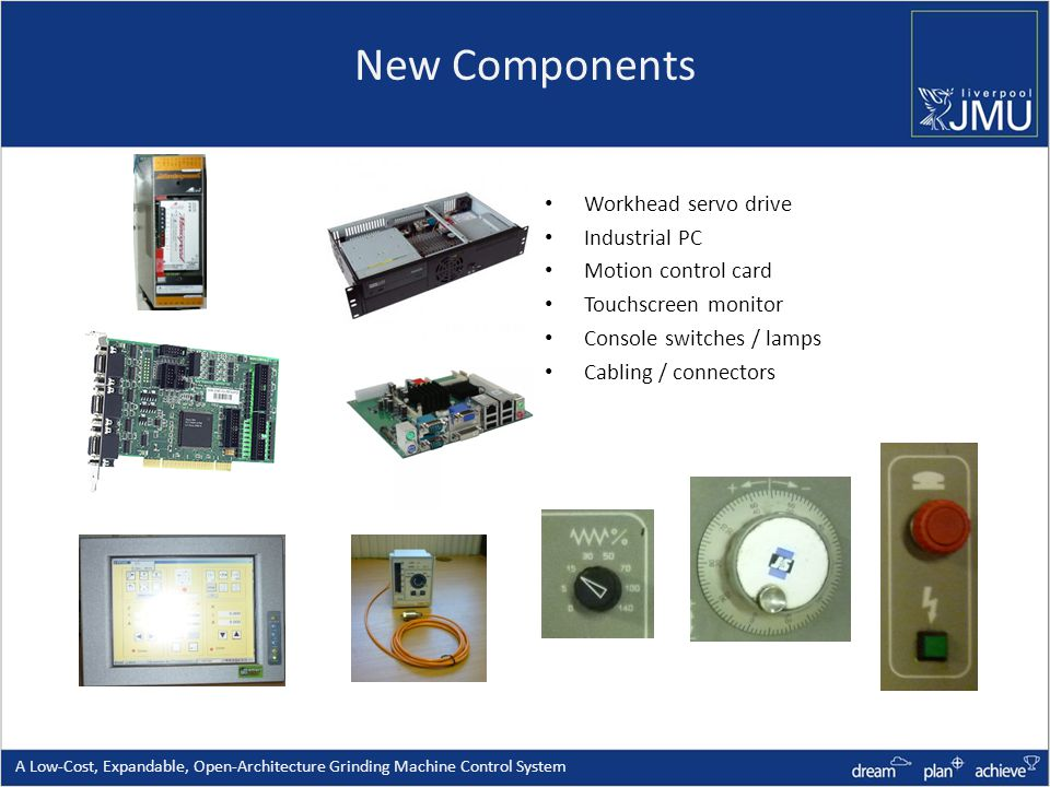New Components Workhead servo drive Industrial PC Motion control card Touchscreen monitor Console switches / lamps Cabling / connectors A Low-Cost, Expandable, Open-Architecture Grinding Machine Control System
