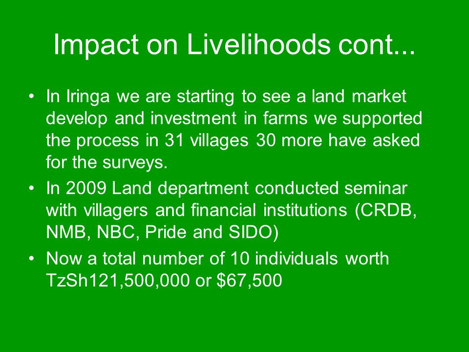 Impact on Livelihoods cont...
