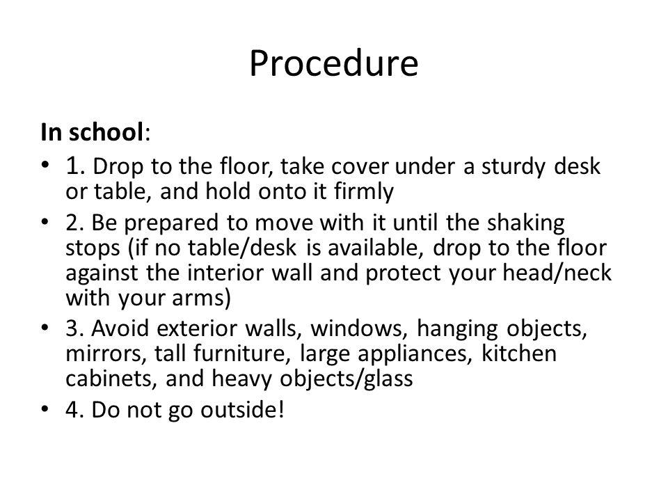 Procedure In school: 1.