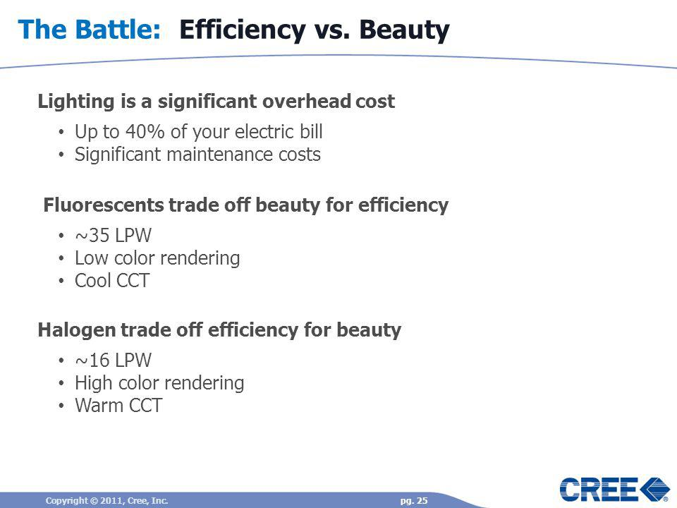 The Battle: Efficiency vs. Beauty Lighting is a significant overhead cost Up to 40% of your electric bill Significant maintenance costs Fluorescents t