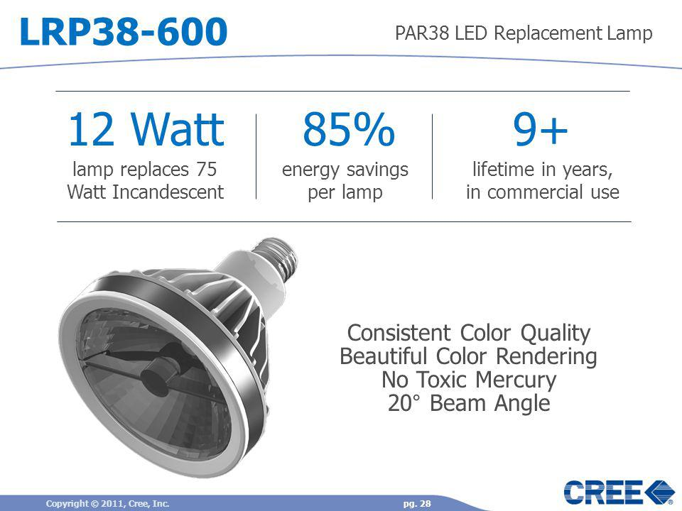 12 Watt lamp replaces 75 Watt Incandescent 85% energy savings per lamp 9+ lifetime in years, in commercial use Consistent Color Quality Beautiful Colo