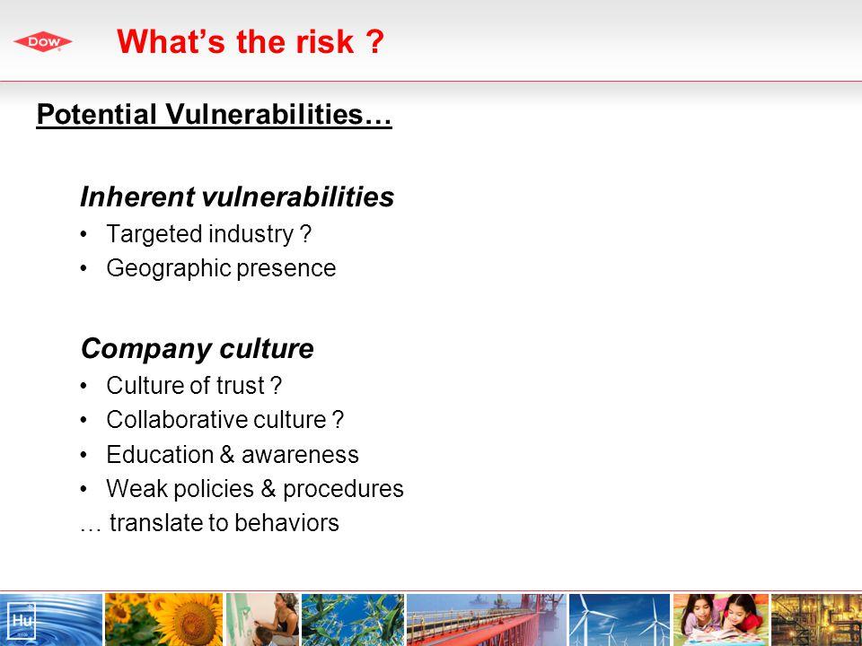 Potential Vulnerabilities… Inherent vulnerabilities Targeted industry .
